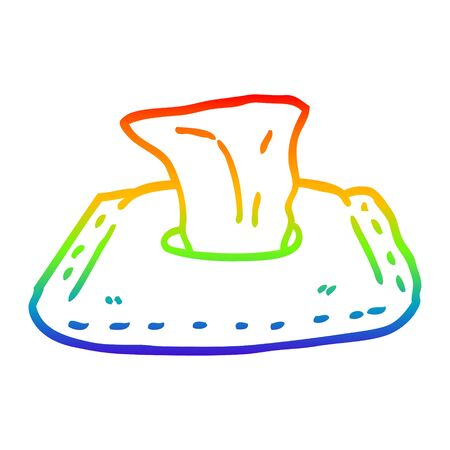 rainbow gradient line drawing of a cartoon toilet wipes