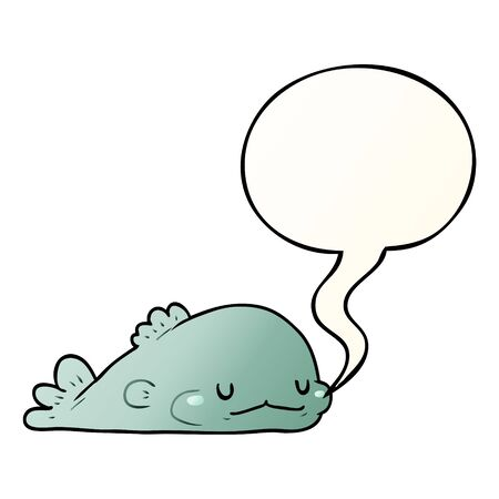 cute cartoon fish with speech bubble in smooth gradient style