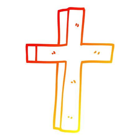 warm gradient line drawing of a cartoon wooden cross Illustration