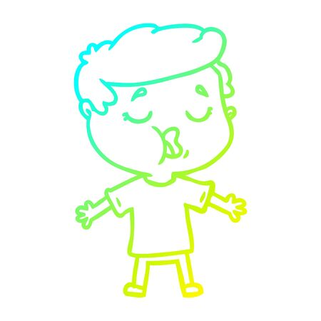 cold gradient line drawing of a cartoon man talking Illustration