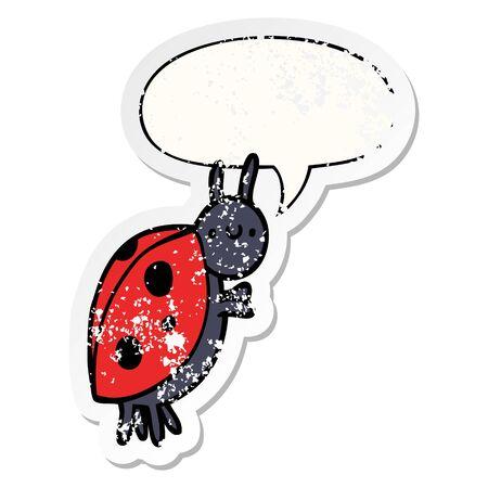 cartoon ladybug with speech bubble distressed distressed old sticker Ilustracja