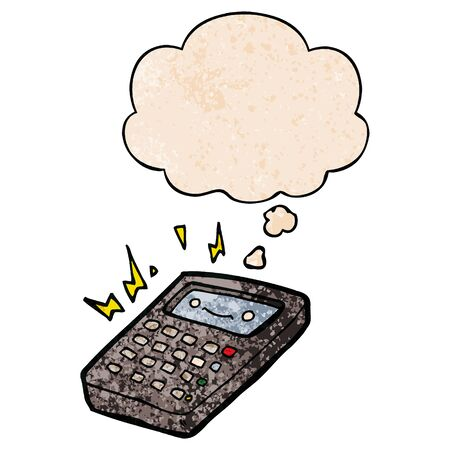 cartoon calculator with thought bubble in grunge texture style 일러스트