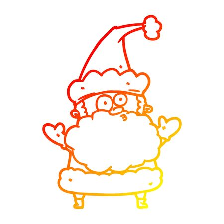 warm gradient line drawing of a confused santa claus shurgging shoulders Banque d'images - 128188093