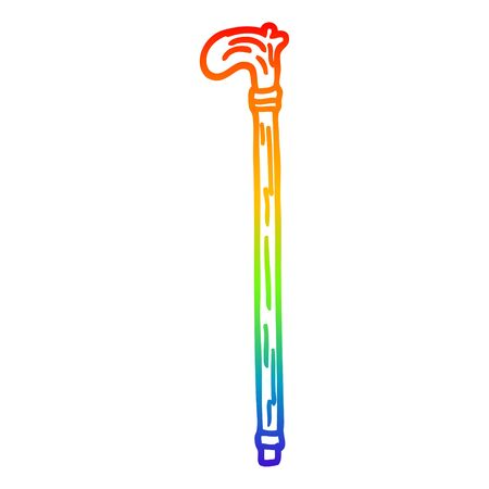 rainbow gradient line drawing of a cartoon walking stick Illustration