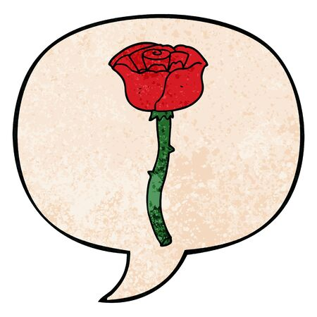 cartoon flower with speech bubble in retro texture style Ilustração