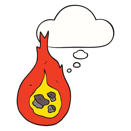 cartoon fireball with thought bubble
