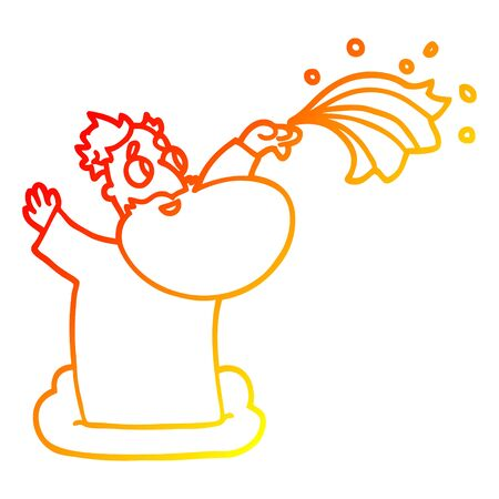 warm gradient line drawing of a cartoon god on cloud Stock Illustratie
