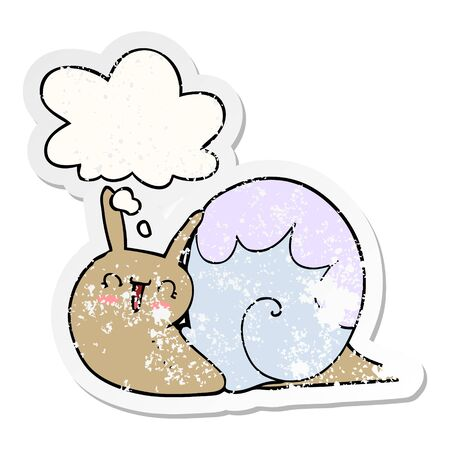 cute cartoon snail with thought bubble as a distressed worn sticker