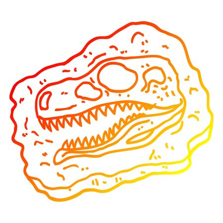 warm gradient line drawing of a cartoon ancient fossil