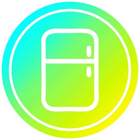 kitchen refrigerator circular icon with cool gradient finish Standard-Bild - 128202694