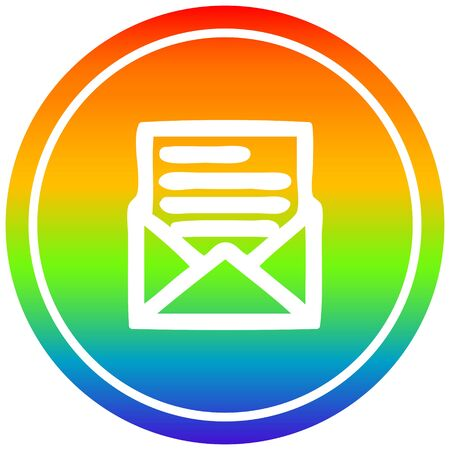 envelope letter circular icon with rainbow gradient finish Ilustração