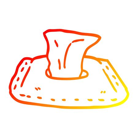 warm gradient line drawing of a cartoon toilet wipes 向量圖像