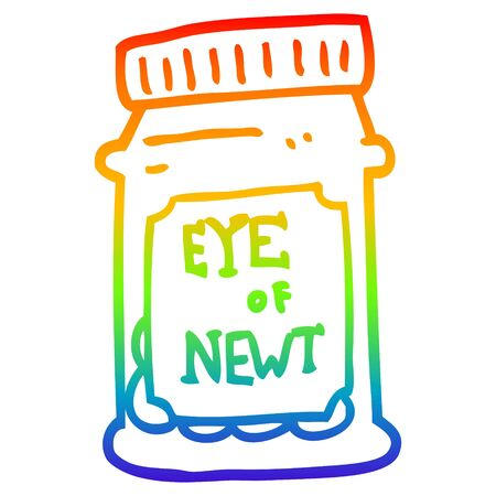 rainbow gradient line drawing of a cartoon eye of newt bottle