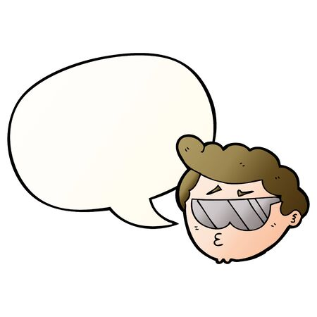 cartoon boy wearing sunglasses with speech bubble in smooth gradient style
