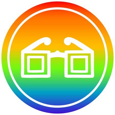square glasses circular icon with rainbow gradient finish