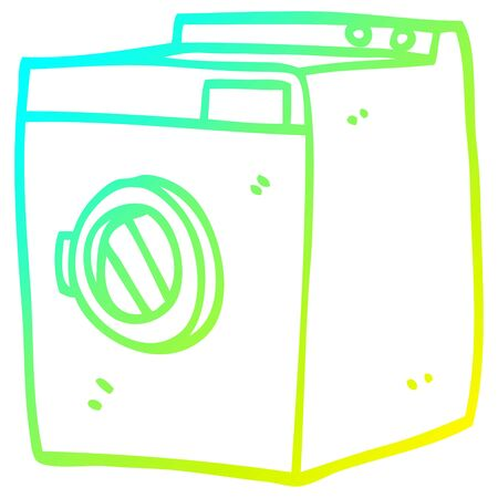 cold gradient line drawing of a cartoon tumble dryer Stock Illustratie