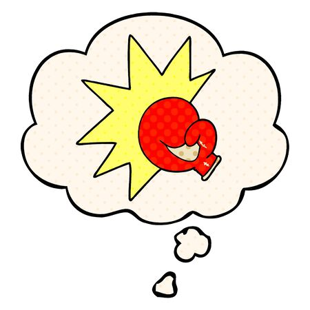 boxing glove cartoon  with thought bubble in comic book style Banque d'images - 128202837