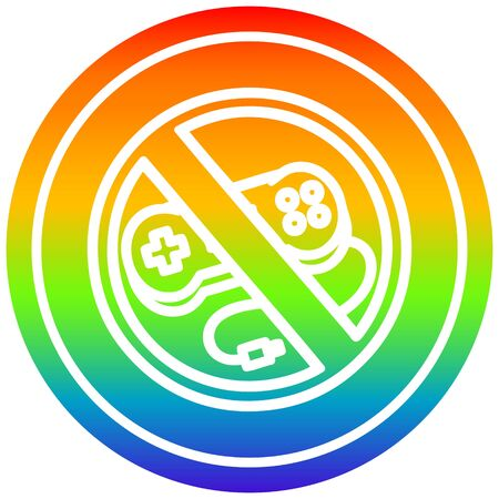no gaming circular icon with rainbow gradient finish