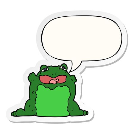 cartoon toad with speech bubble sticker Banque d'images - 128189036