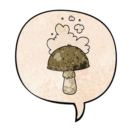 cartoon mushroom with spore cloud with speech bubble in retro texture style