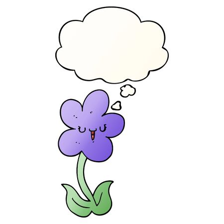 cartoon flower with happy face with thought bubble in smooth gradient style