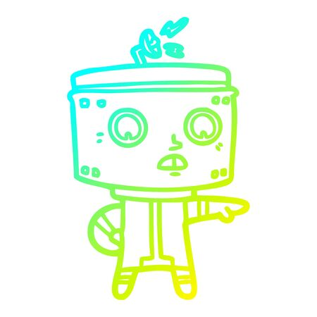 cold gradient line drawing of a cartoon robot accusing