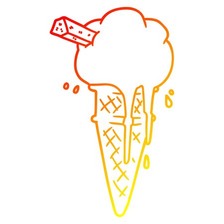 warm gradient line drawing of a cartoon ice cream melting