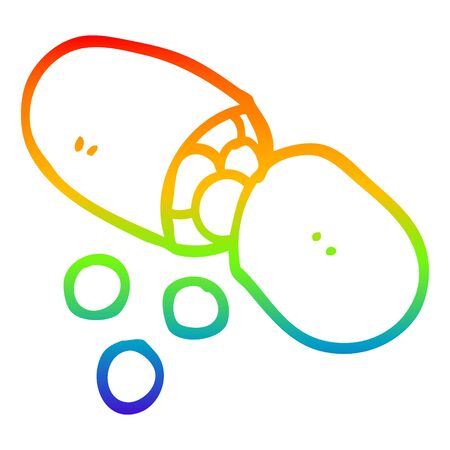 rainbow gradient line drawing of a cartoon capsule pill Ilustração