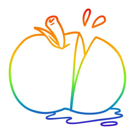 rainbow gradient line drawing of a cartoon sliced apple Ilustração