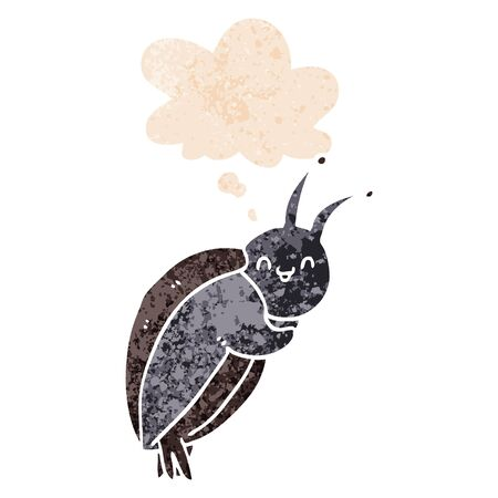 cute cartoon beetle with thought bubble in grunge distressed retro textured style