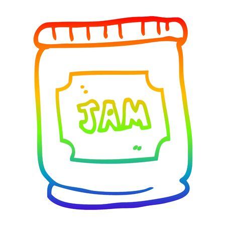 rainbow gradient line drawing of a cartoon jam pot Stok Fotoğraf - 128203814