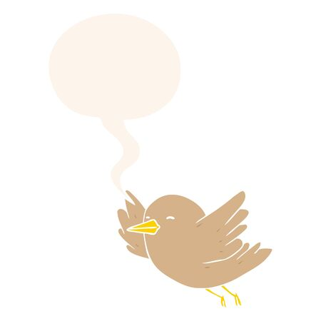 cartoon bird flying with speech bubble in retro style