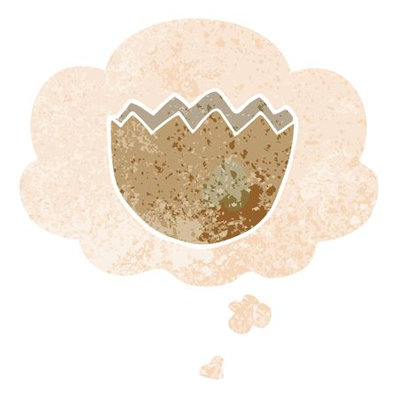 cartoon cracked eggshell with thought bubble in grunge distressed retro textured style