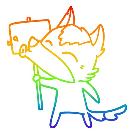 rainbow gradient line drawing of a howling wolf cartoon