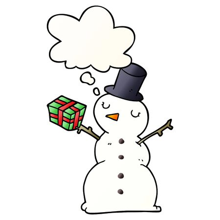 cartoon snowman with thought bubble in smooth gradient style