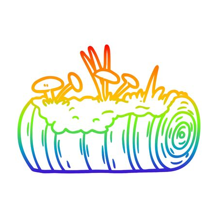 rainbow gradient line drawing of a cartoon old log with mushrooms
