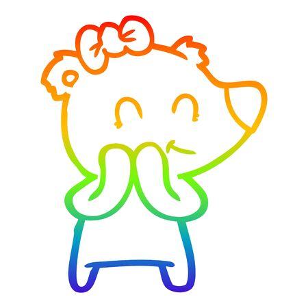 rainbow gradient line drawing of a shy female polar bear cartoon Illustration