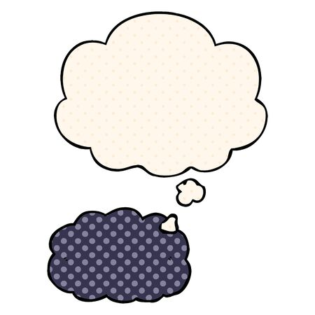 cartoon cloud with thought bubble in comic book style Stok Fotoğraf - 128189269
