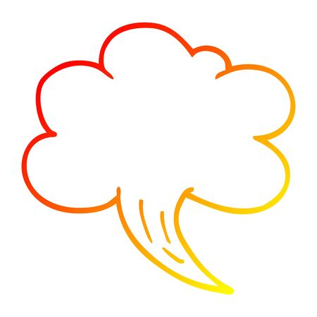 warm gradient line drawing of a cartoon whooshing cloud Illustration
