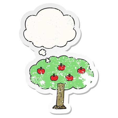 cartoon apple tree with thought bubble as a distressed worn sticker Ilustracja