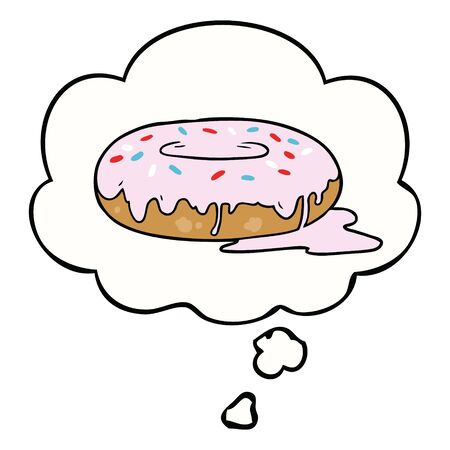cartoon donut with thought bubble