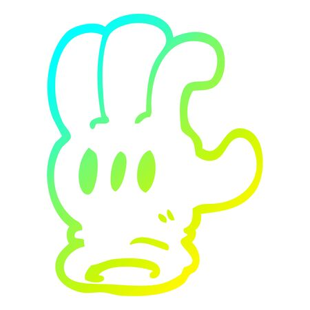 cold gradient line drawing of a cartoon glove hand