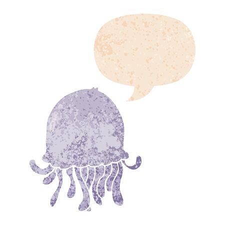 cartoon jellyfish with speech bubble in grunge distressed retro textured style 向量圖像