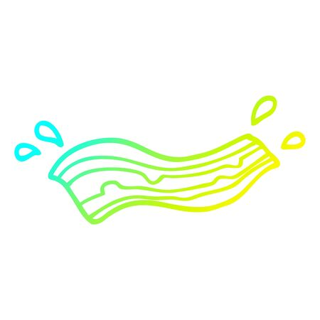 cold gradient line drawing of a cartoon sizzling bacon