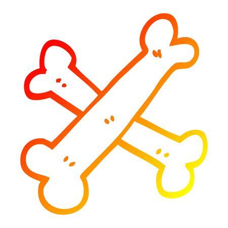 warm gradient line drawing of a cartoon crossed bones Stock Vector - 128320136