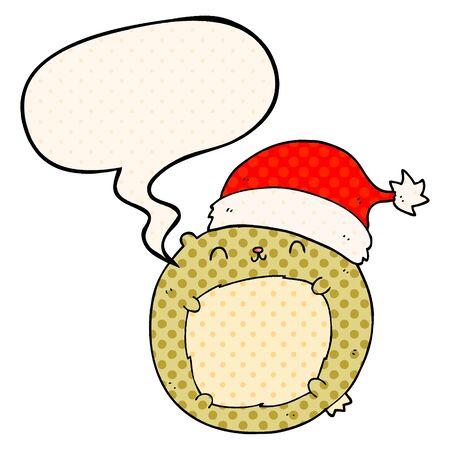 cute cartoon christmas bear with speech bubble in comic book style