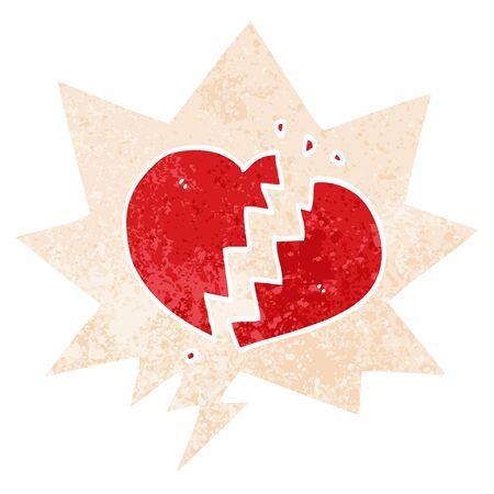cartoon broken heart with speech bubble in grunge distressed retro textured style