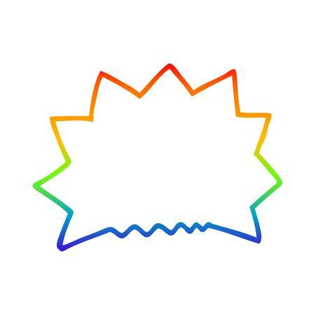 rainbow gradient line drawing of a cartoon big  bang explosion Ilustração