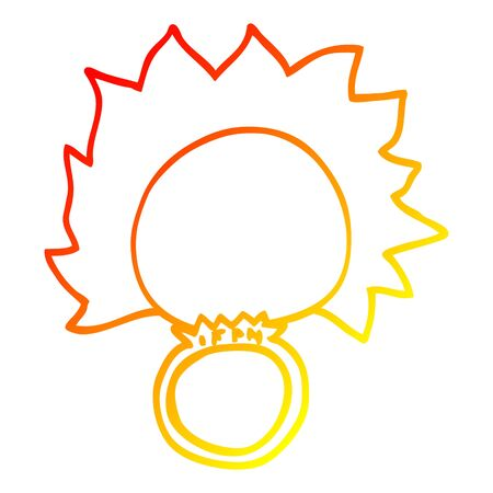 warm gradient line drawing of a cartoon mood ring