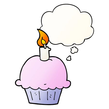 cartoon birthday cupcake with thought bubble in smooth gradient style